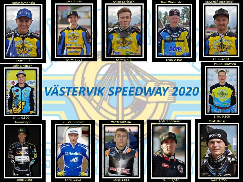 Västervik Speedway 2020 BS, JH, AK, NW, KB, JD, LS, VK, AT, MH, JL, PO